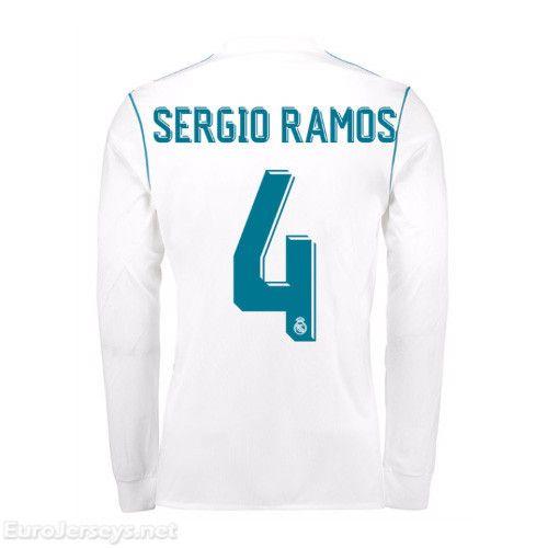 379900119  19 Real Madrid 2017-18 Home Sergio Ramos 4 Long Sleeved Football Shirt  Soccer Jersey Kit camiseta de fútbol