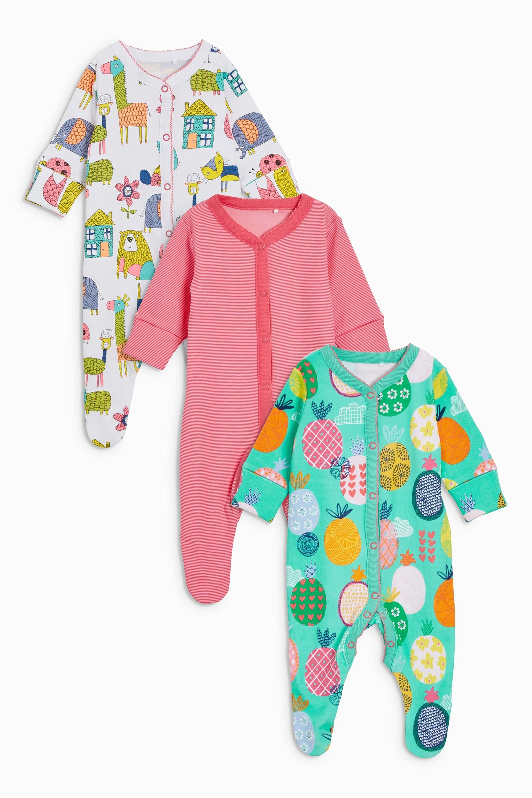 Dependable Newborn Baby Girls Babygrows Set Of 3 Last Style Clothing, Shoes & Accessories