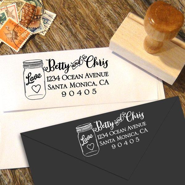 Mason Jar Address Stamp, Rustic Wedding, Return Address Stamp, Wedding Stamp, Save The Date Stamp, Custom Gifts, Wedding Gift, Custom Stamp