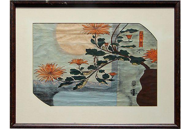 19th-C. Japonisme Water Color / Victorian Aesthetics