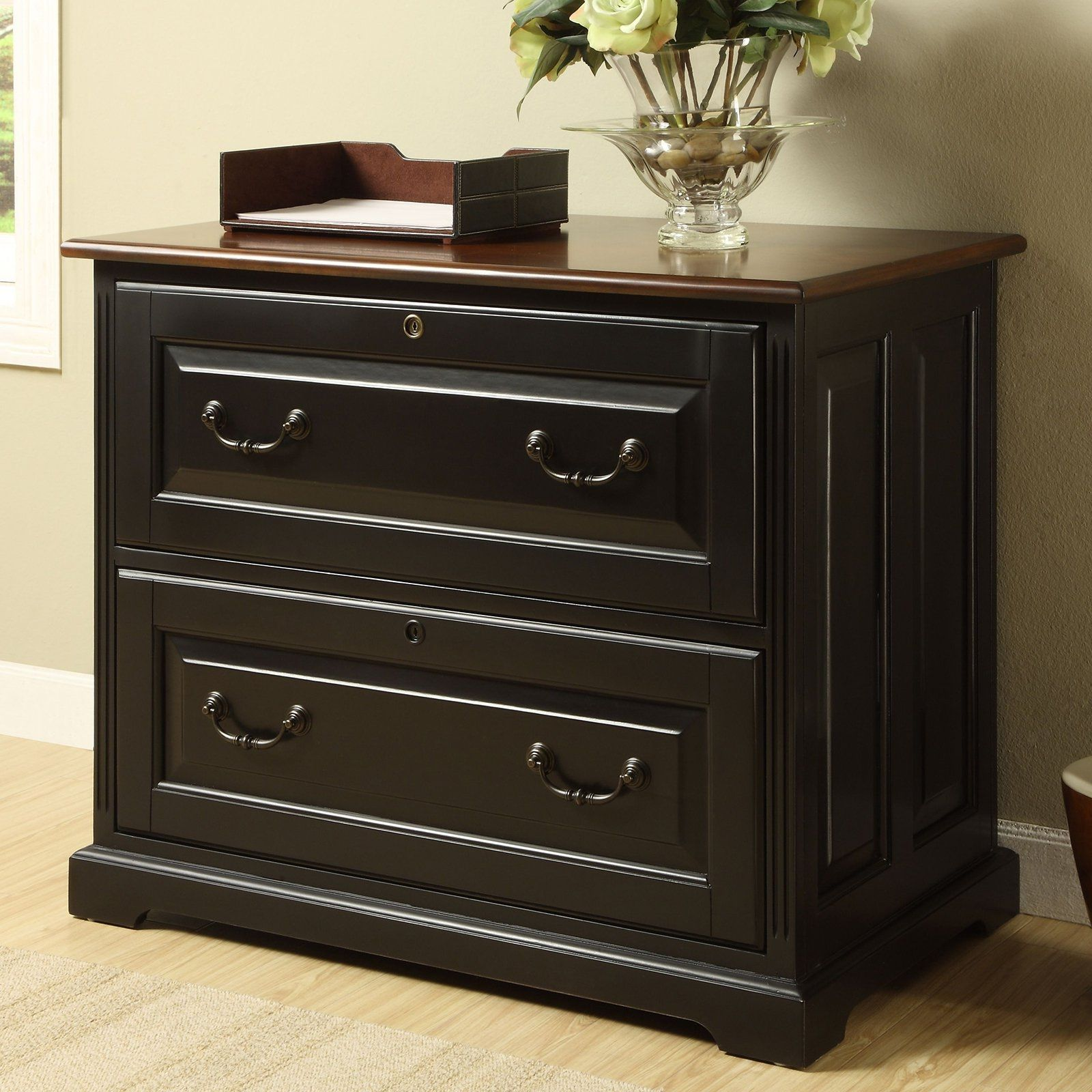 Black Wooden File Cabinets 2 Drawer