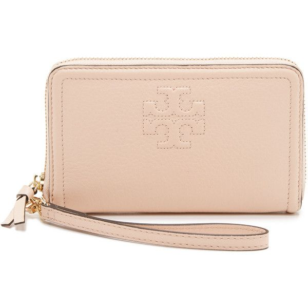 cc2e2f06c2 Tory Burch Thea Zip Around Wristlet Wallet ($150) ❤ liked on Polyvore  featuring bags, wallets, sweet melon, zipper wallet, zip-around wallet,  leather ...