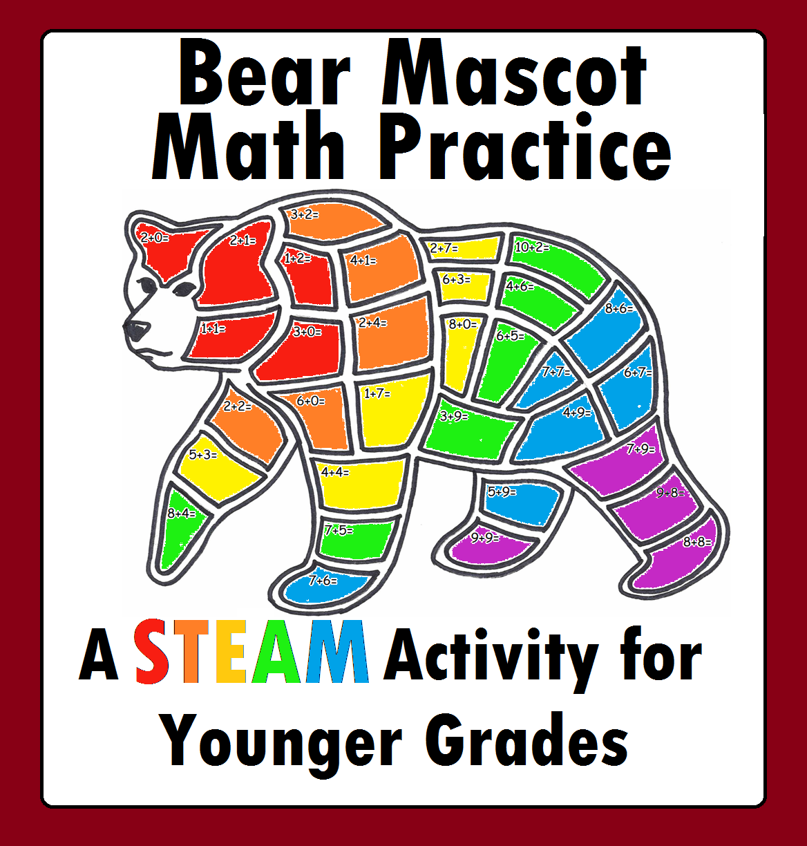 Bear Mascot Math Addition Worksheet Stem Steam For Younger