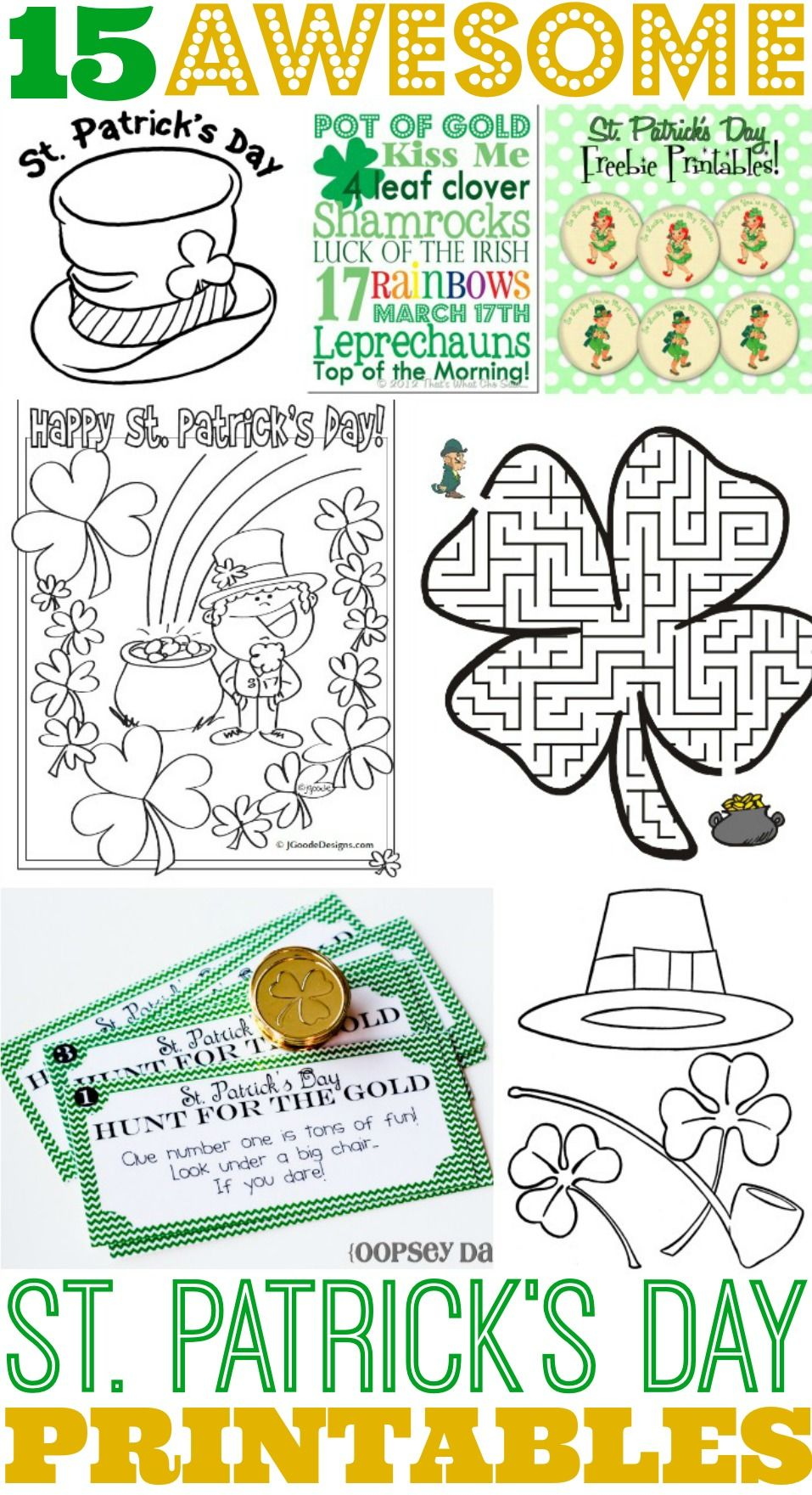 15 Awesome St. Patrick\'s Day Free Printables for Kids