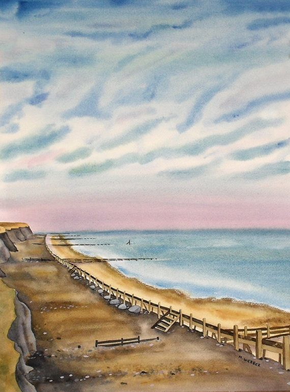 Happisburgh Beach Painting Of North Norfolk By Michelewebber 194 40 Beach Painting Seascape Paintings Painting