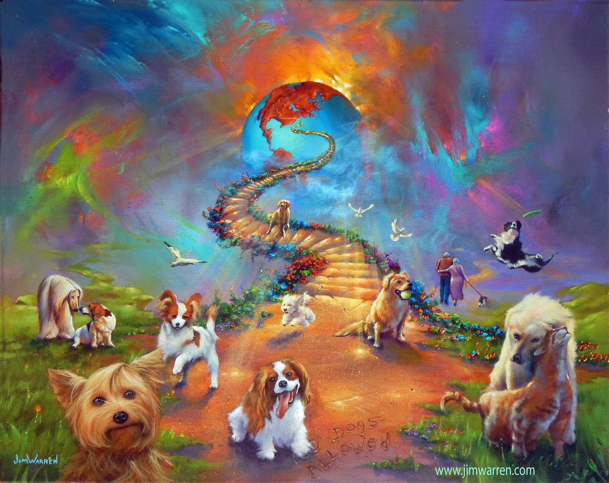 All Dogs Go To Heaven 4 Cross Paintings 8x10 Art Prints Rainbow Bridge