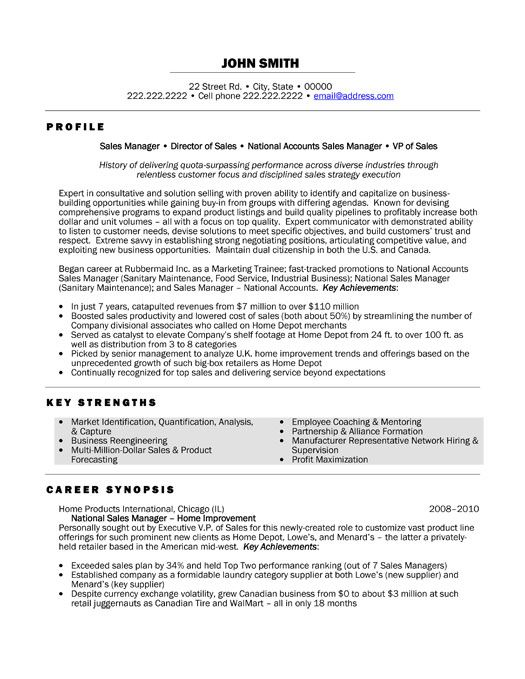 a resume template for a national sales manager  you can