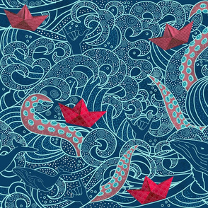 Photo of Colorful fabrics digitally printed by Spoonflower – Octopus Ocean Playground