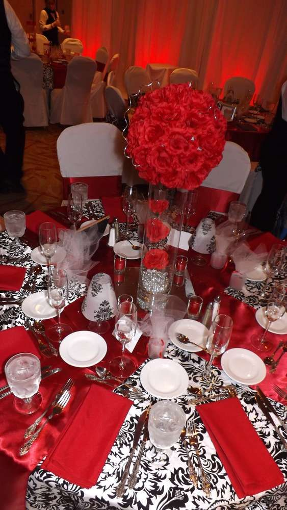 Damask Theme Party Black White And Red Damask Wedding