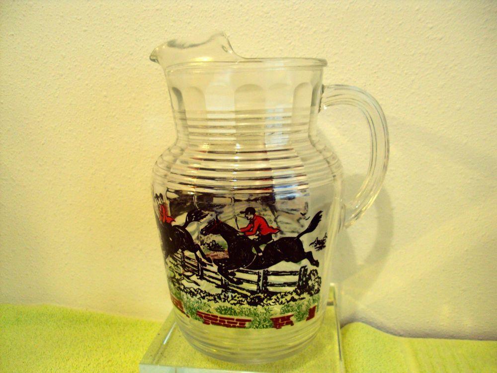 Vintage Anchor Hocking Large Glass Pitcher Jumping Horses Multi Color Motif Vintage Glassware Glass Pitchers Pitcher