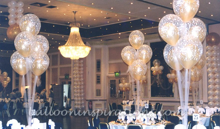 Elegant balloon wedding decorations with tulle quot note