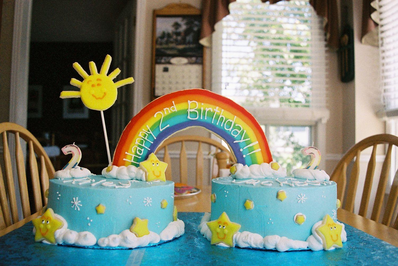 My Twins 2nd Birthday Cake Rainbow Birthday Cake 2 Birthday