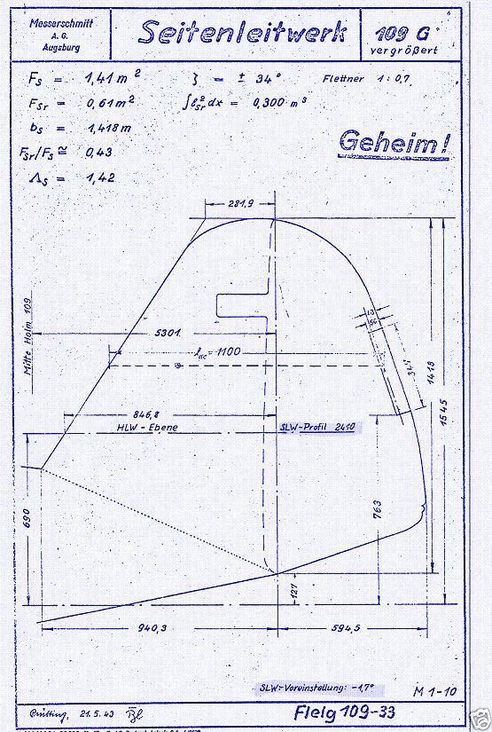 Bf Me 109 Messerschmitt Original Blueprint Plans archive period - new blueprint plan company