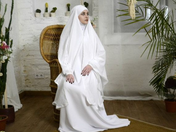Hervorragend White wedding Khimar, Modern Burqa, Bridal Burka, Muslim Cape  RQ64