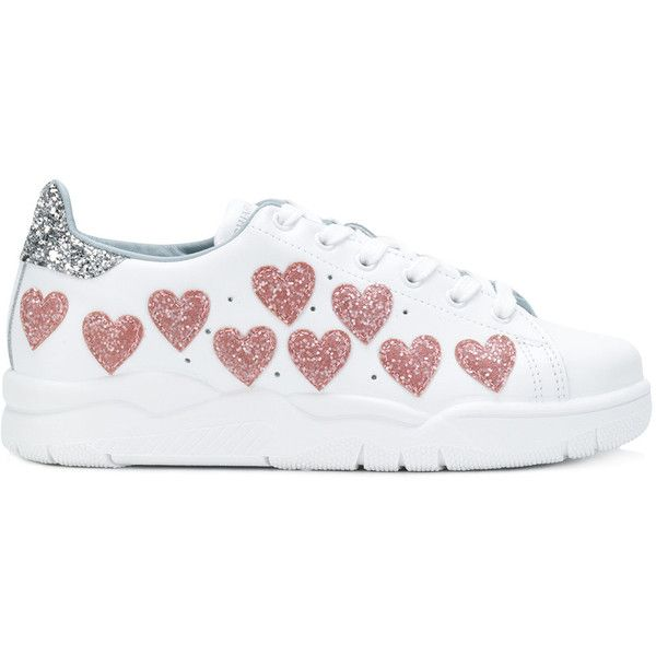 Chiara Ferragni embellished Roger sneakers (38095 DZD) ❤ liked on Polyvore featuring shoes, sneakers, white, glitter shoes, lace up sneakers, white sneakers, leather shoes and white leather trainers