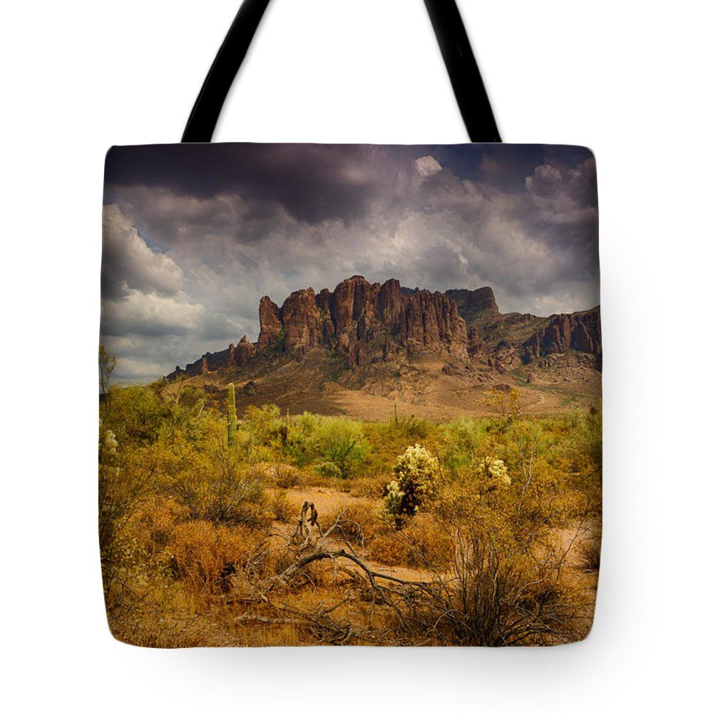 """A Day at the Superstitions  Tote Bag 18"""" x 18"""""""