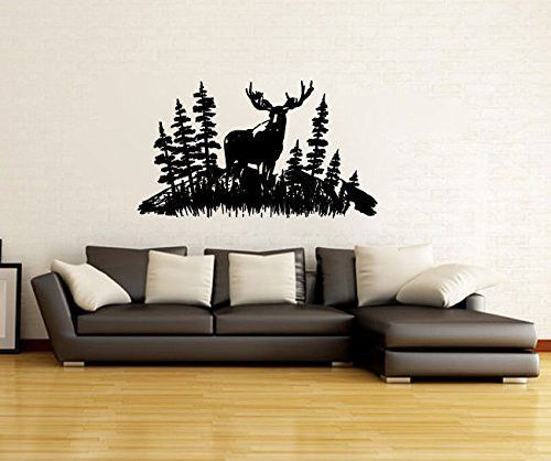 Moose And Pine Tree Woods Forest Silhouette Vinyl Wall Decal - How to make vinyl wall decals with silhouette