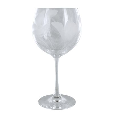 California Poppy Clear Wine Glass by Jaguar Art Glass - Fire & Ice