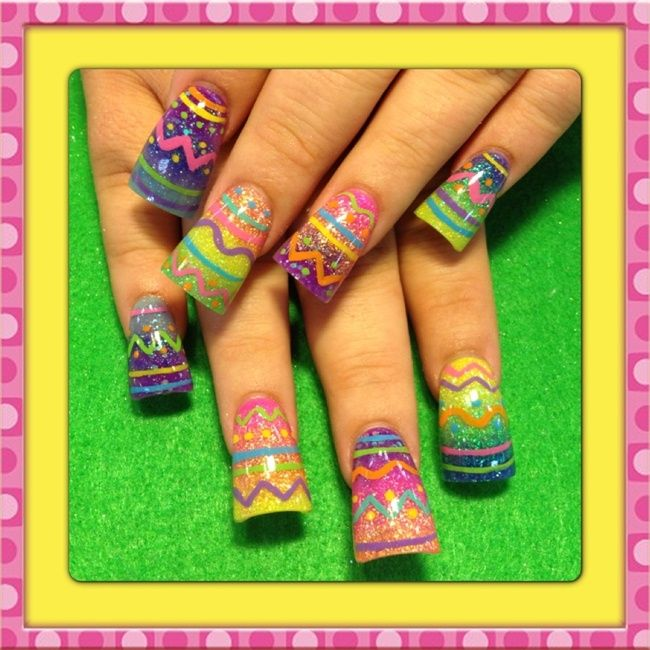 Easter eggs - Nail Art Gallery - The colors are fun, but the shape ...