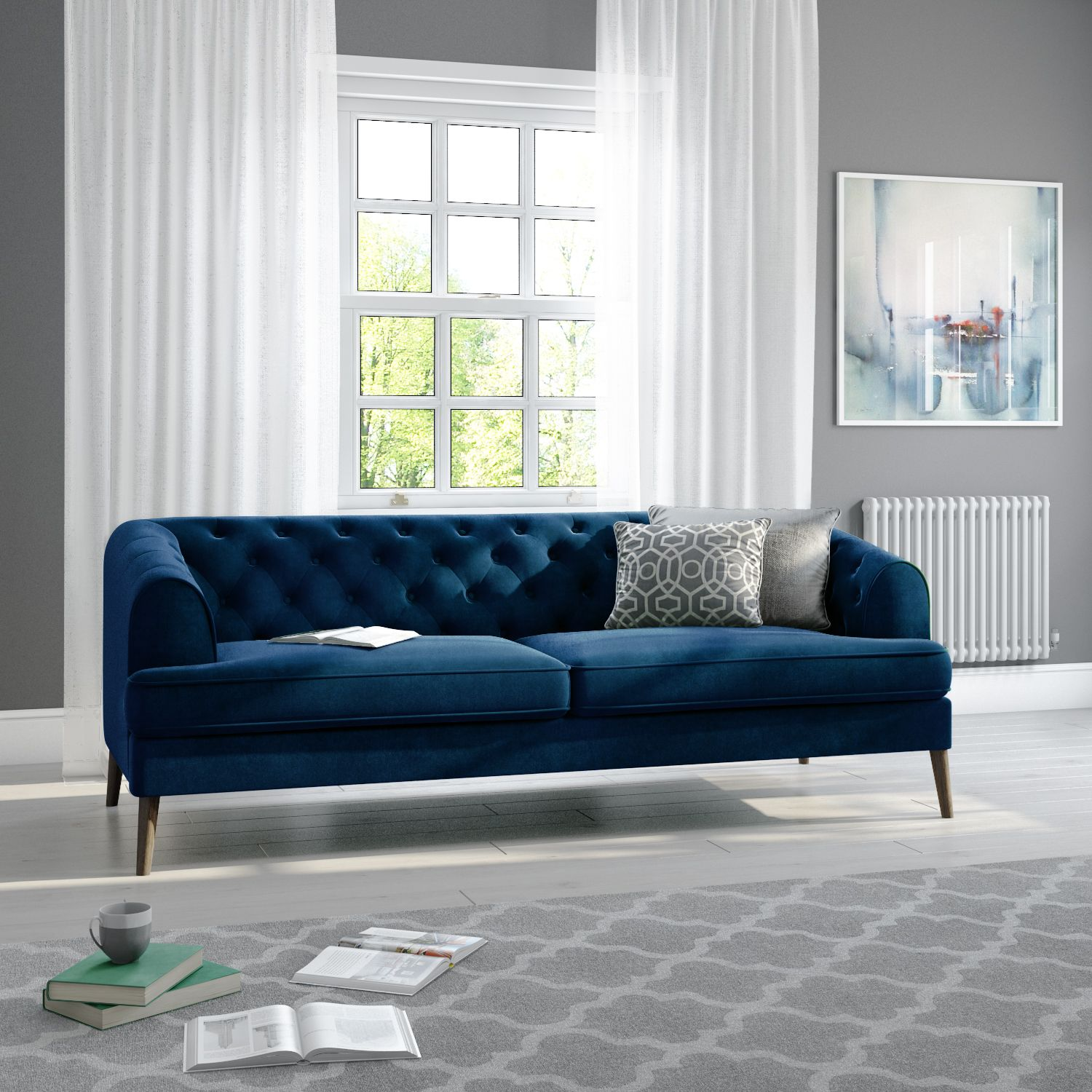 Inez Dark Blue Velvet 3 Seater Chesterfield Sofa Sof035 Green Sofa Living Room Green Velvet Sofa Living Room Green