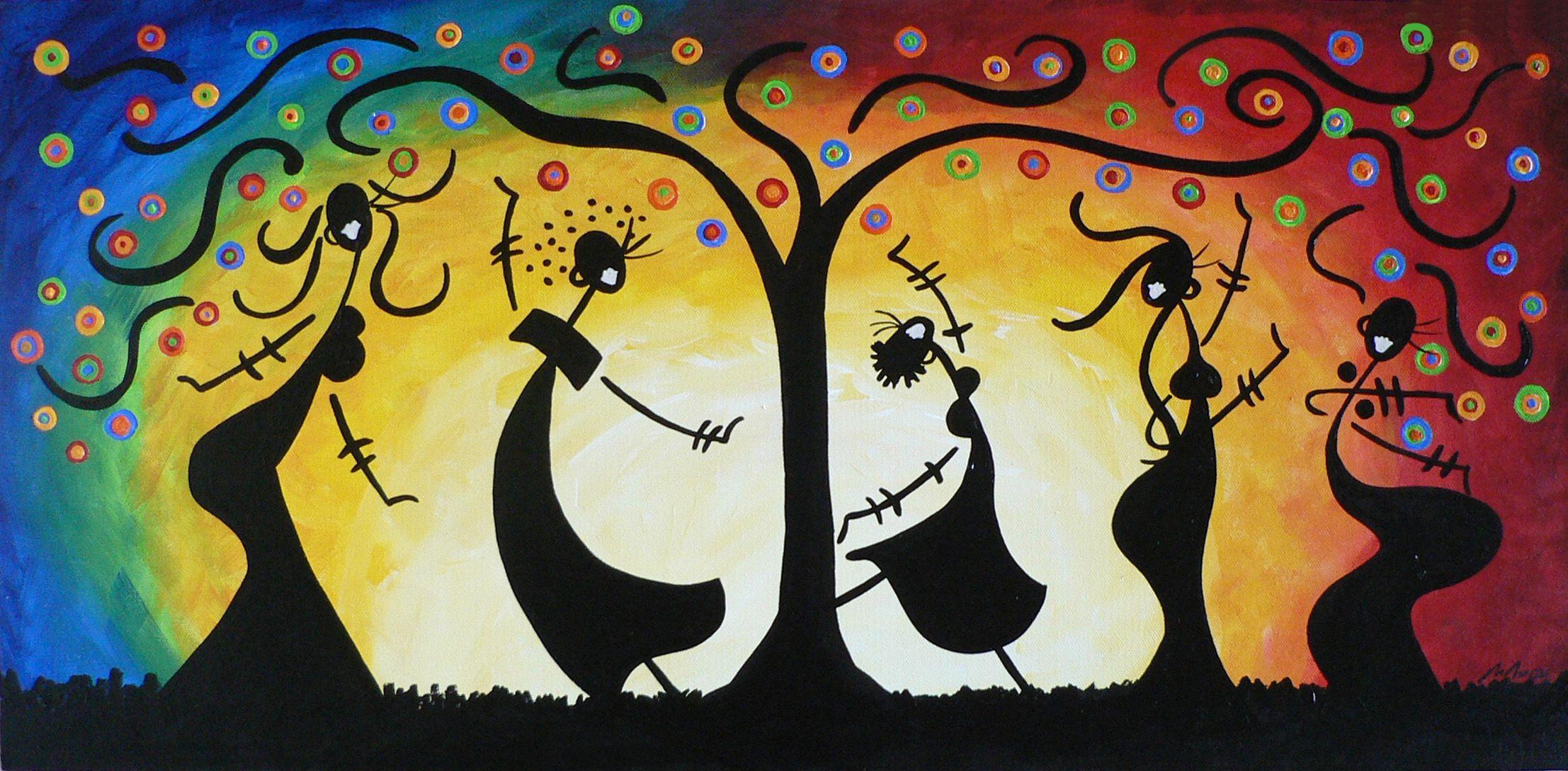 www.paintingsforsaledirect.com Title: Dancing Under The Rainbow Tree ...