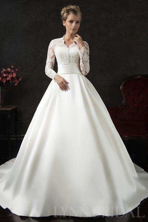 Modest A Line Queen Ann Long Sleeves Wedding Dress | Wedding dresses ...