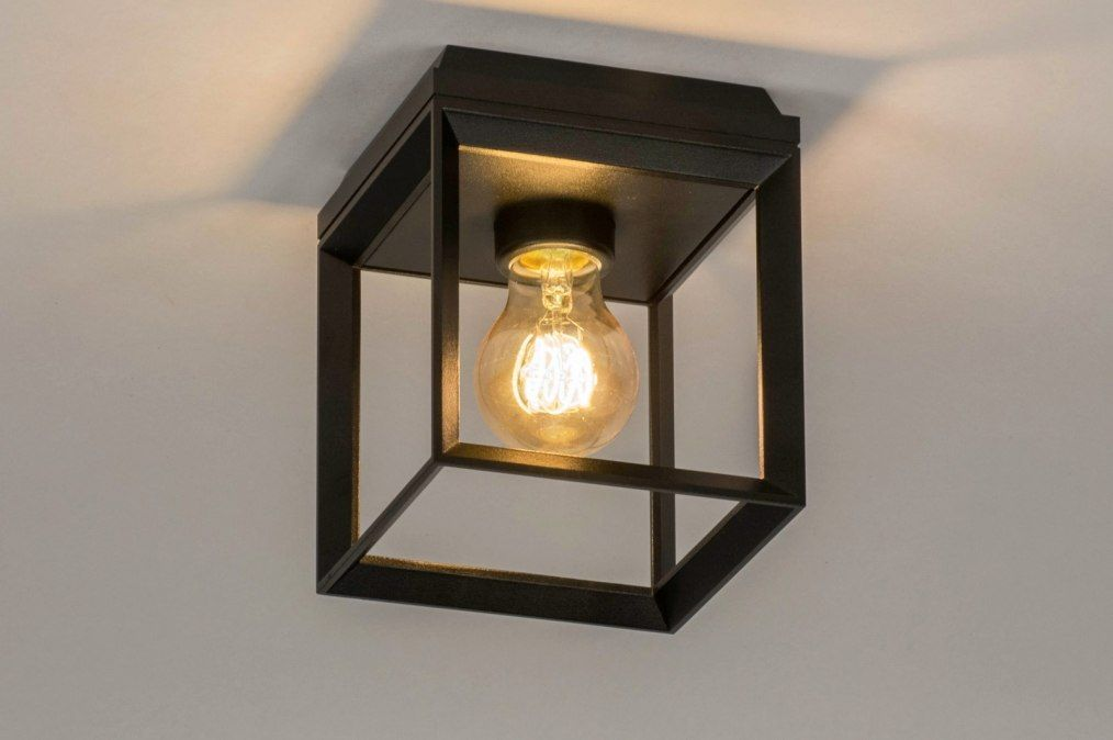 Stijlvolle Plafonniere Badkamer : Art 73092 strakke vierkante mat zwarte plafondlamp. kan ook als