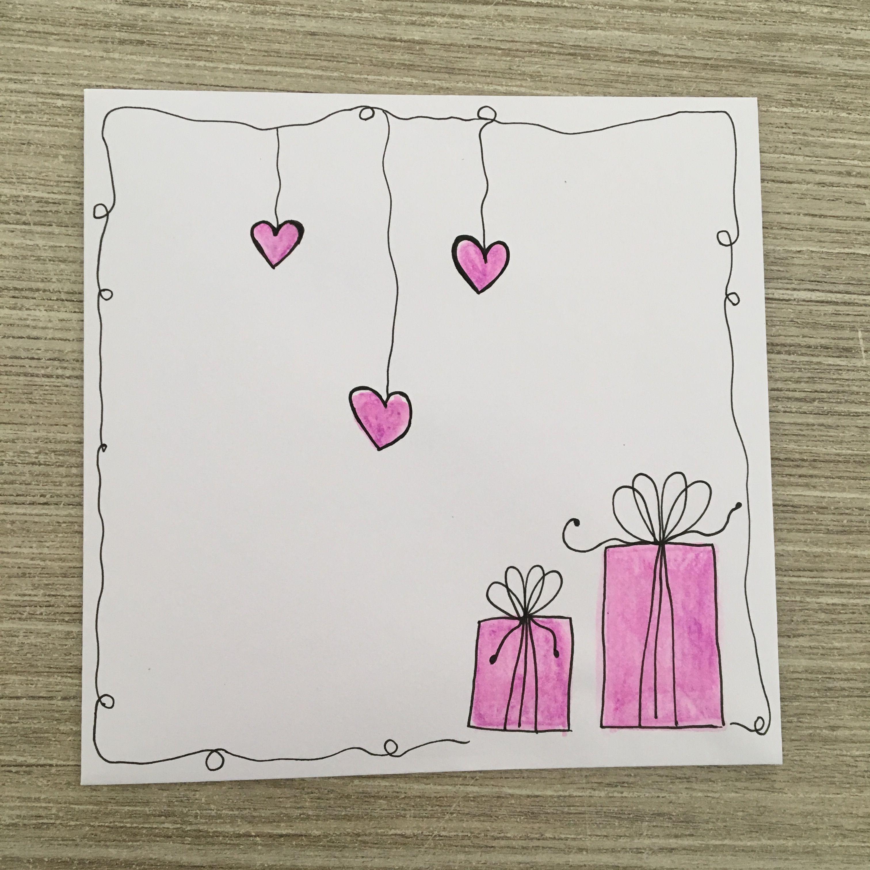 Как сделать открытку на день рождения своими руками рисунок