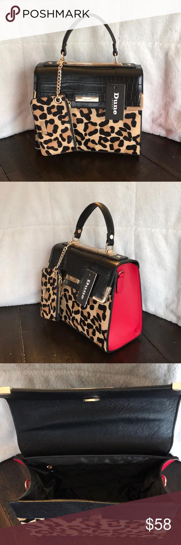 dd176e9bf40a9 Dune London faux leopard fur bag with red detail NWT DUNE LONDON Shoulder  Bag with faux leopard fur and red detail black strap for cross body wearing  Depth.