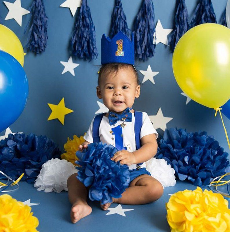 Blue and gold star 1st birthday outfit boy 1st birthday