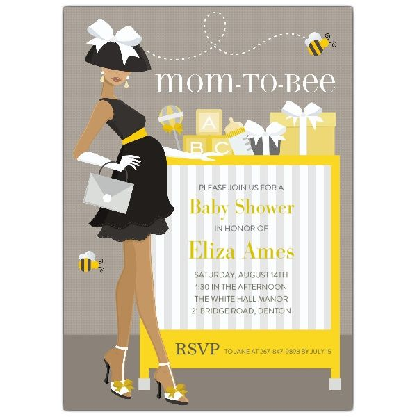 Mom To Bee African American Shower Invitations  Baby Shower Ideas