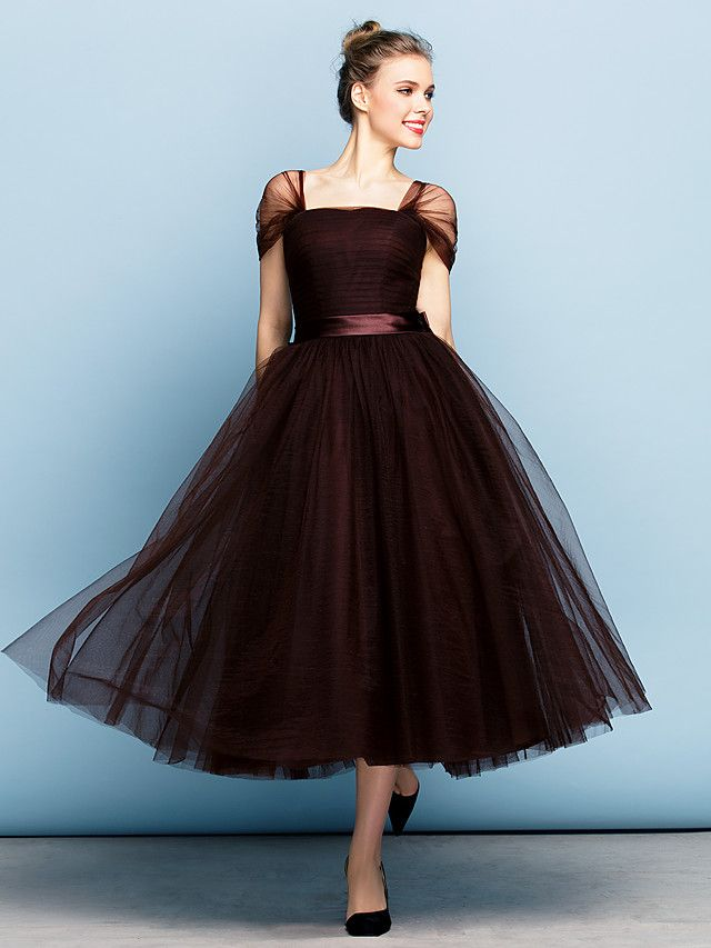 Formal Evening Dress - Chocolate Plus Sizes   Petite Ball Gown Square Tea- length Tulle - USD   149.99 f358c30a17f1