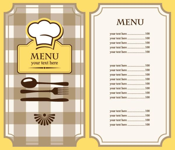 Free restaurant menu template free eps file set of cafe for Easy menu templates free
