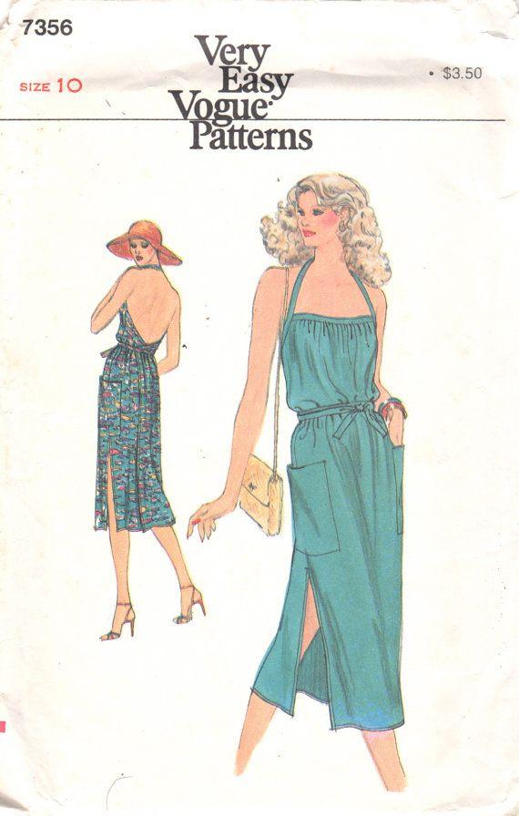 Vogue 7356 1970s Misses Very Easy Halter Wrap Sundress Pattern Bare ...