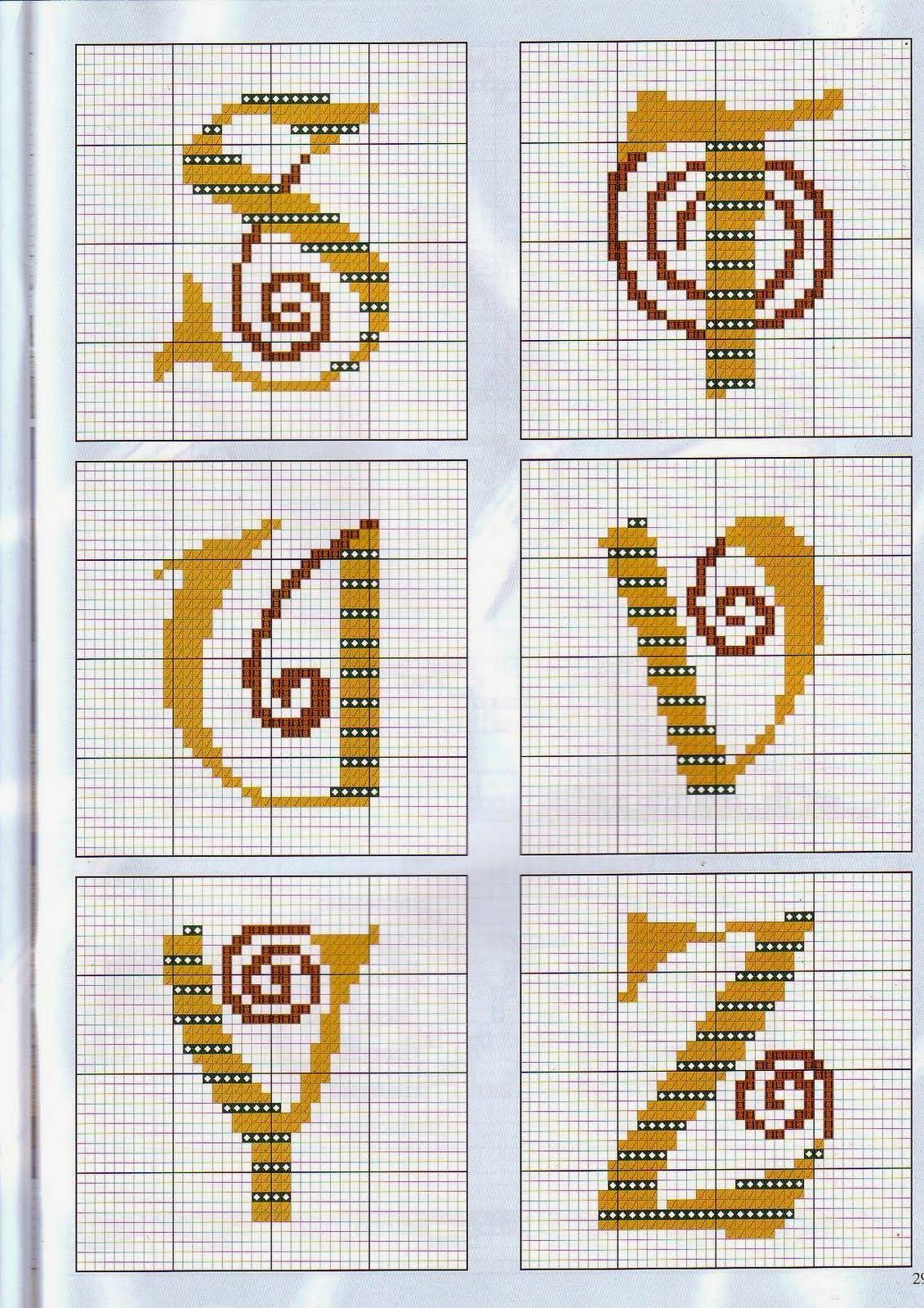 Alfabeto con espirales, para punto de cruz. | adis | Pinterest ...