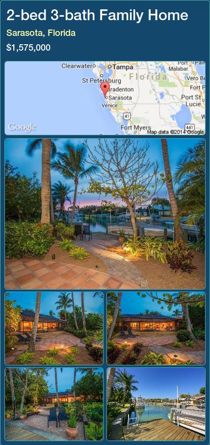 2-bed 3-bath Family Home in Sarasota, Florida ►$1,575,000 #PropertyForSaleFlorida http://florida-magic.com/properties/56287-family-home-for-sale-in-sarasota-florida-with-2-bedroom-3-bathroom