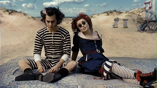 beach, burton, helena, helena boham carter, helena bonham carter, helena carter, i love, johnnny depp, johnny depp, movie, movies, striped, stripes, sweeney, sweeney todd, tim burton, vintage
