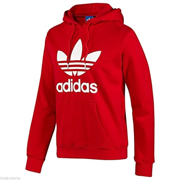 Unisex Adidas Red Cotton Polyester Hoodie Red Adidas Mens Sweatshirts Hoodie Adidas Outfit