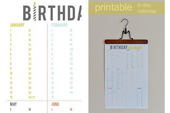 Printable Birthday Calendar - free Download Pinterest