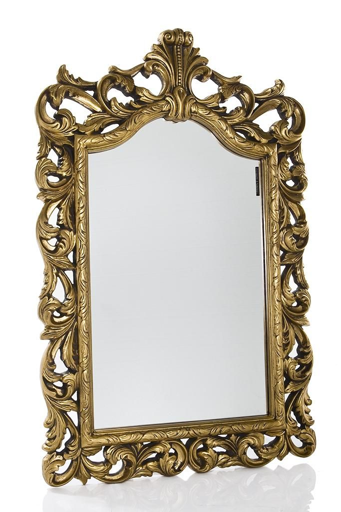 Baroque Style Mirror With Crest Antique Gold