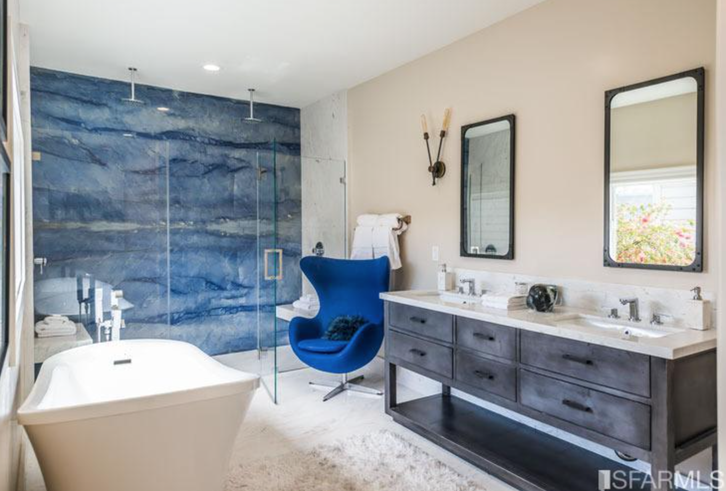 Agate blue wall in shower. | House ideas | Pinterest | Blue walls ...