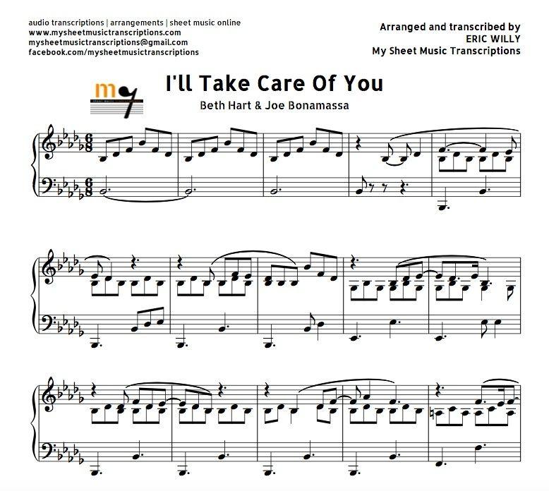 Ill Take Care Of You Beth Hart Joe Bonamassa Sheet Music Pdf