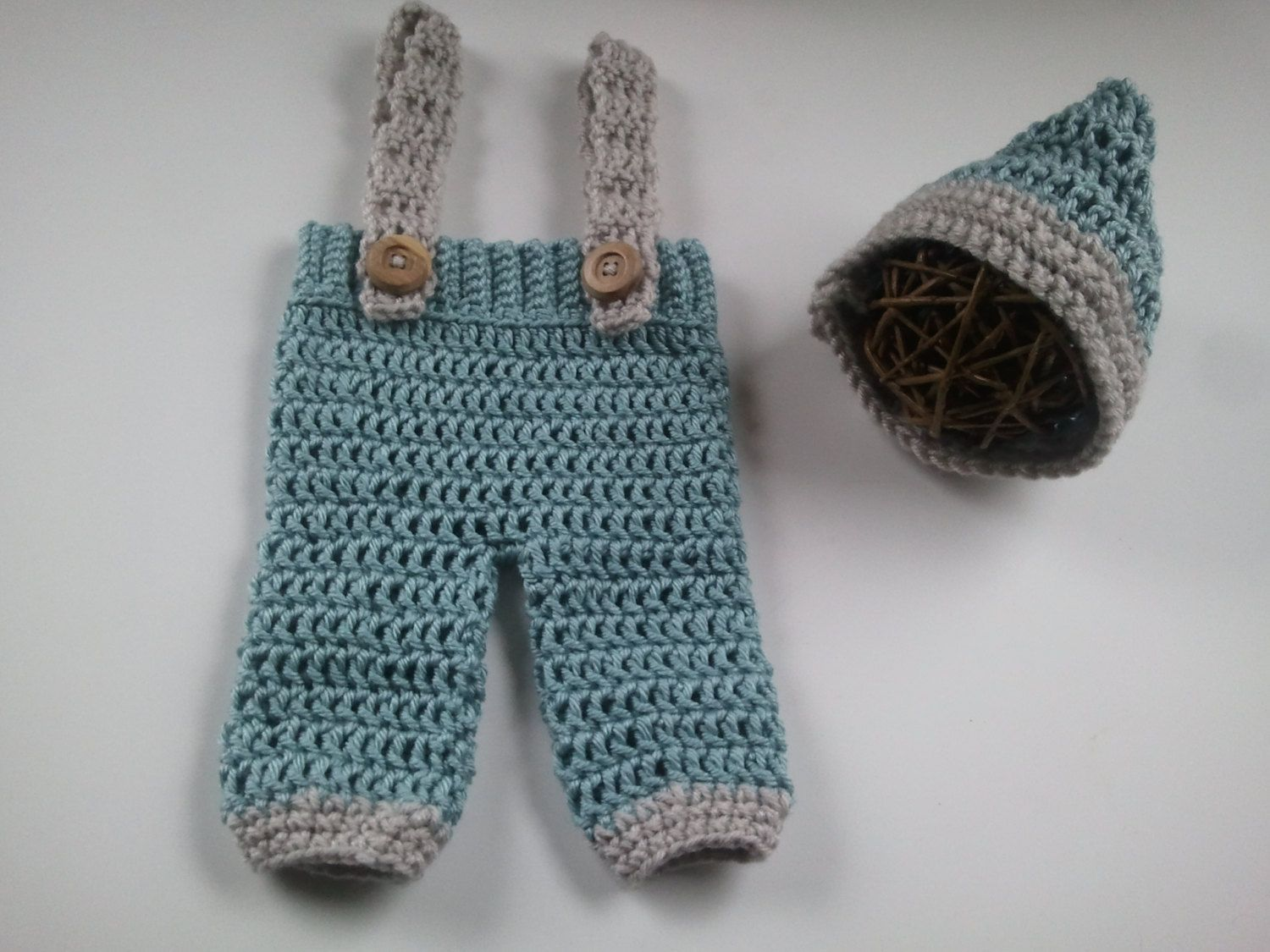 Newborn Crochet Pants with Suspenders and Gnome Chinstrap ...