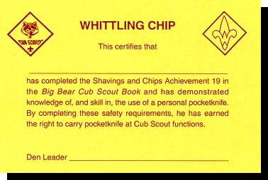 picture about Whittling Chip Card Printable named Pin upon Cub Scouts, Recreation Times