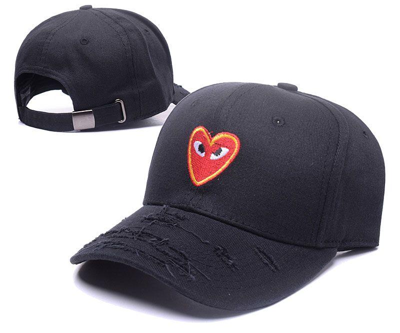 Men s   Women s Comme Des Garcons CDG Play Heart Logo Distressed Curved Dad  Hat - Black c43122c772f6
