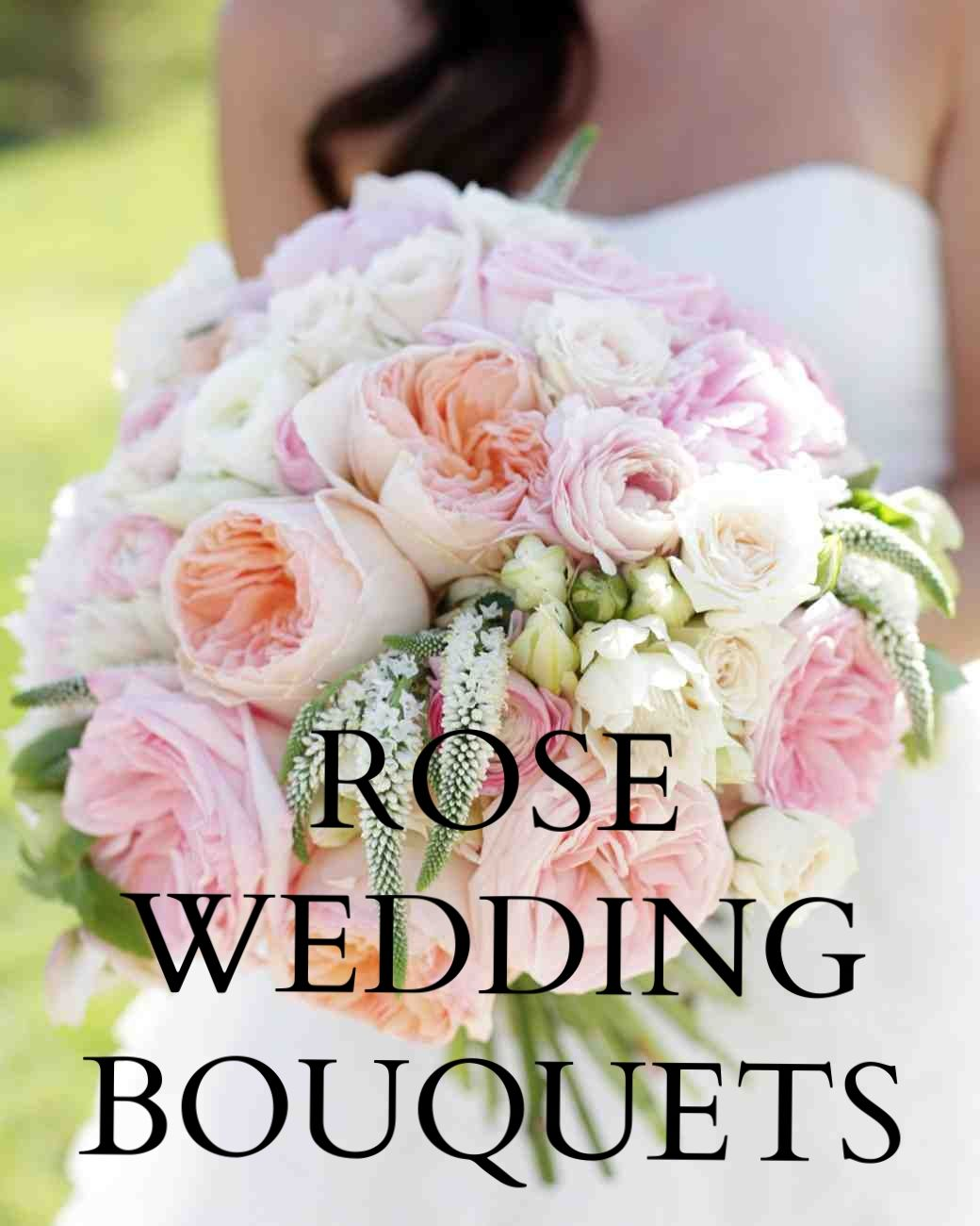 Our Favorite Rose Wedding Bouquets   Martha Stewart Weddings - Several types of garden roses, along with peonies, ranunculus, hellebores, spray roses, and Veronica, made up this pink posy.