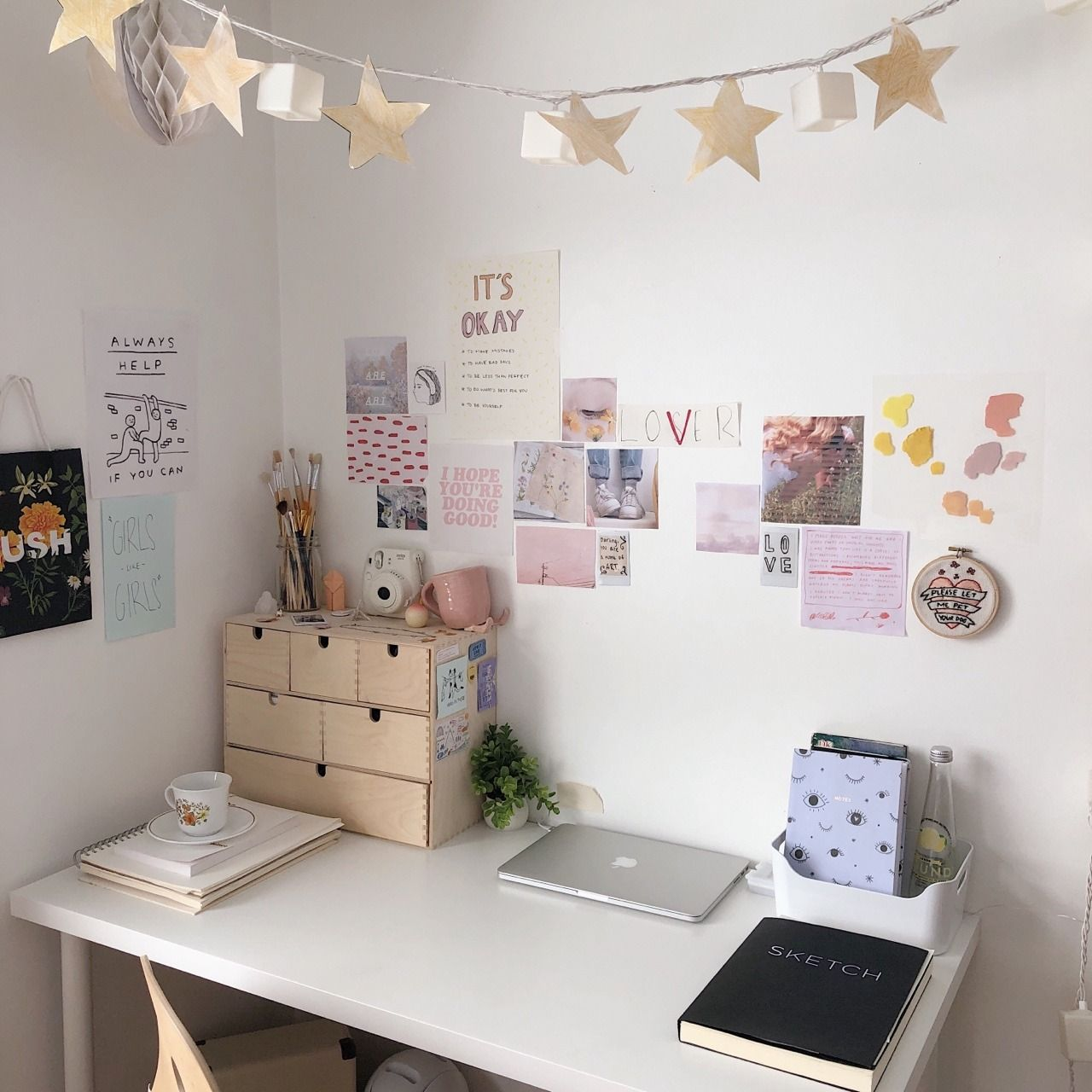sending love — my current work space 🌟 Study room decor