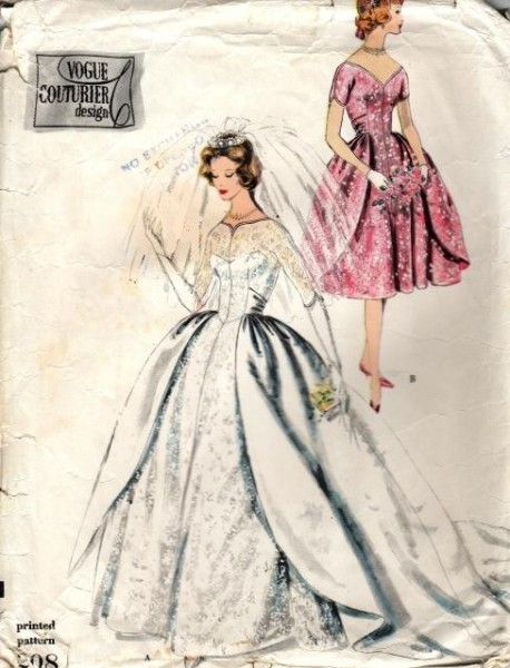 RESERVED1950s BRIDAL GOWN WEDDING DRESS PATTERN PETTICOAT BEAUTIFUL DESIGN VOGUE COUTURIER 208