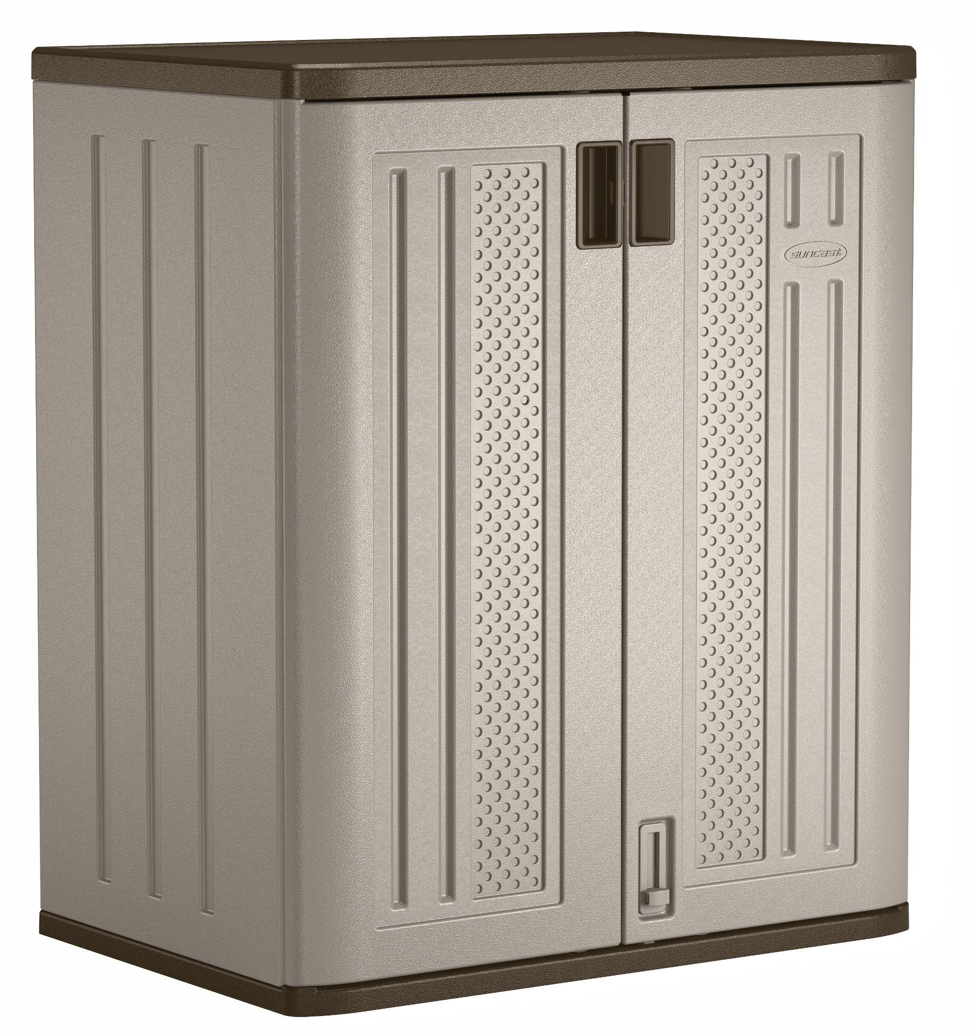 Suncast 36 Resin Storage Cabinet Locker For Garage Home Shed Gray Walmart Com In 2020 Outdoor Storage Cabinet Resin Storage Utility Storage Cabinet