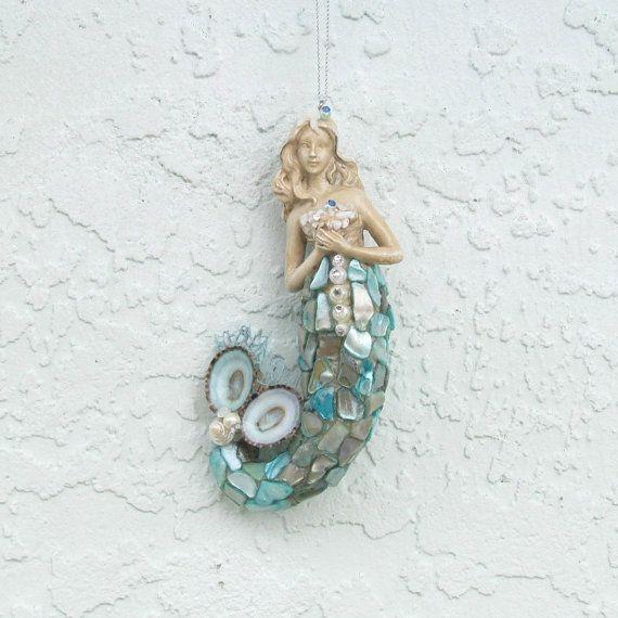 Mermaid ornament seashells christmas tree by for Christmas tree ornaments made from seashells